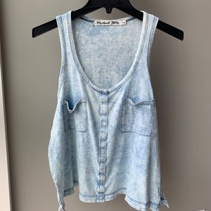 Michael Stars distressed button front tank OS